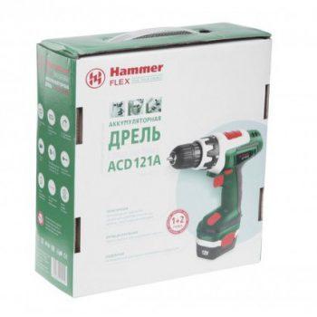 аккумуляторная дрель Hammer Flex ACD121A 12.0В 1х1.2Ач 10мм 0-550об/мин 12Нм зар. 3-5ч
