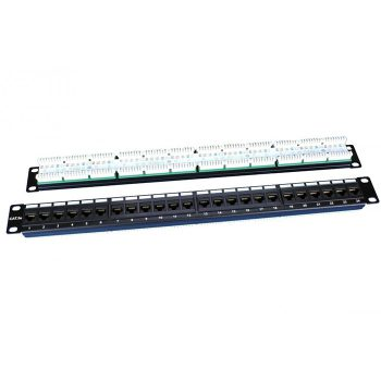 "Hyperline PP3-19-24-8P8C-C5E-110D Патч-панель 19"", 1U, 24 порта RJ-45"