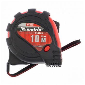 MATRIX Рулетка Status magnet 3 fixations, 10 м х 32 мм, обрезиненный корпус, зацеп с магнитом